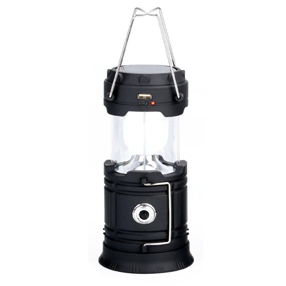 Noir  CMB Lampe de Camping Pliable, LED Lanterne Solaire de Camping Rechargeable portable pour Camping Randonnée Pêche