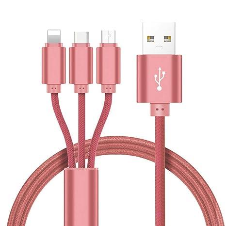 TOUSHI Cable Cargador Cable USB 3 en 1 2 en 1 para iPhone XS X 8
