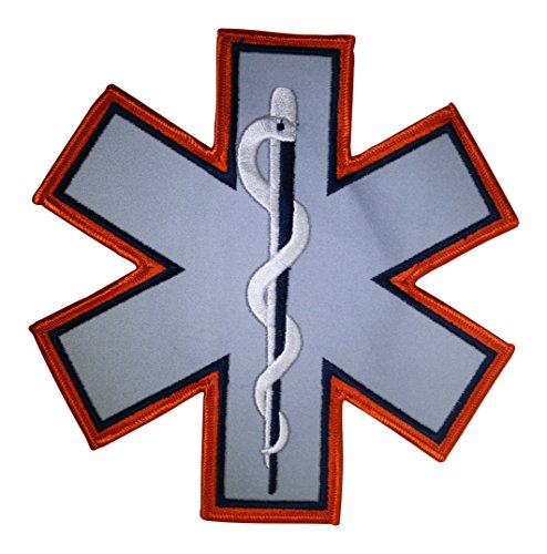 - EMT EMS PARAMEDIC STAR OF LIFE REFLECTIVE UNIFORM PATCH EMBLEM INSIGNIA ORANGE/NAVY WITH REFLECTIVE GREY MIDDLE, LARGE 7