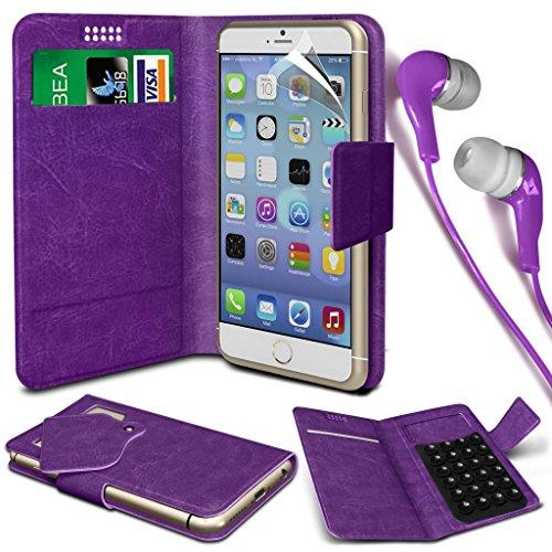 N4U Online® - Apple iPhone 4 PU aspiration étui en cuir Wallet Pad Cover & 3,5 mm stéréo intra-auriculaires - Violet