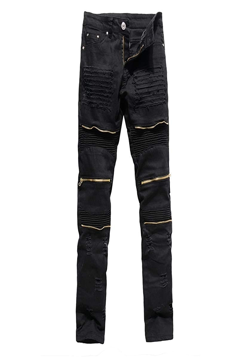 Zimaes-Men Straight Washed Drape Up Oversize Skinny Shorts Jeans