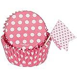 Polka Dot Cupcake Kit for 24, Hot Pink