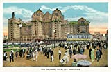 Atlantic City, New Jersey - Exterior View of the New Traymore Hotel; Boardwalk View (9x12 Art Print, Wall Decor Travel Poster)