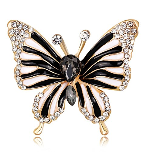 PROMLINK Rhinestone Butterfly Brooch Pin for Women Birdal Jewelry (Jewelry Pin Brooch Crystal)