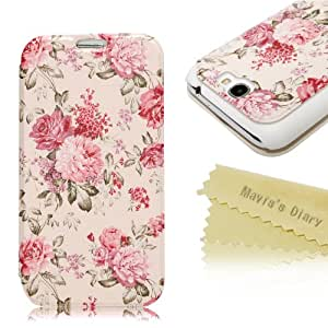 Mavis's Diary for Samsung Galaxy Note II 2 N7100 I605 L900 I317 T889 T-mobile Version Country Style Design(Flower) Leather Flip Case Cover with Soft Clean Cloth (Color3)
