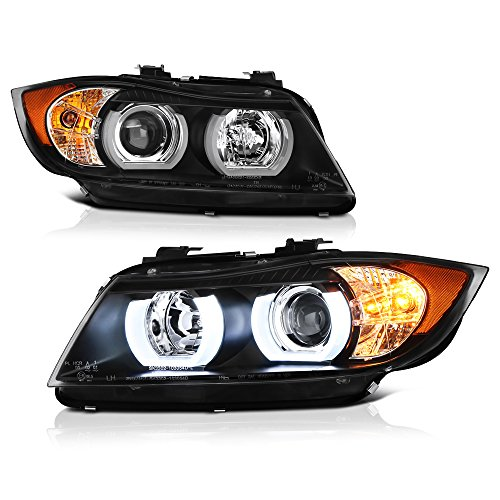 - [F'King Bright Series] - VIPMOTOZ For 2006-2008 BMW E90 3 Series 325i 328i 335i Sedan Wagon DTM Style Halo Ring Headlights - [Factory Halogen Headlamp Model] - Driver & Passenger Side