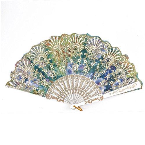 Vintage Luxury fabric Handheld Folding Fan flower pattern for girl and women