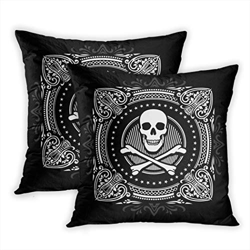 Suike Set of 2 Throw Pillow Covers Skull Crossbones and Ornate Spades Pirate Pattern Celtic Society Polyester Soft Cozy Square Decorative Pillowcases for Sofa Bedroom 20x20 Inches -
