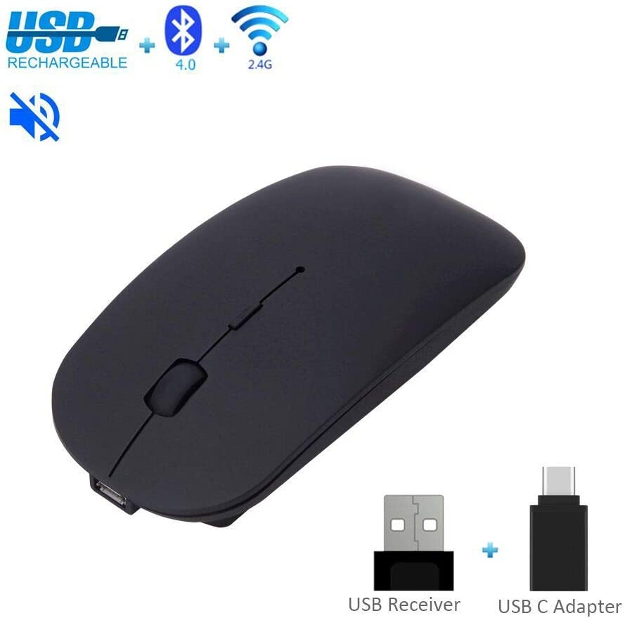 Wireless Silent Mouse 2.4G Bluetooth Rechargeable, USB & Type C Dual Mode Slim Mouse for PC Laptop iMac Macbook Microsoft Pro Smart Mobile Phones Office Home