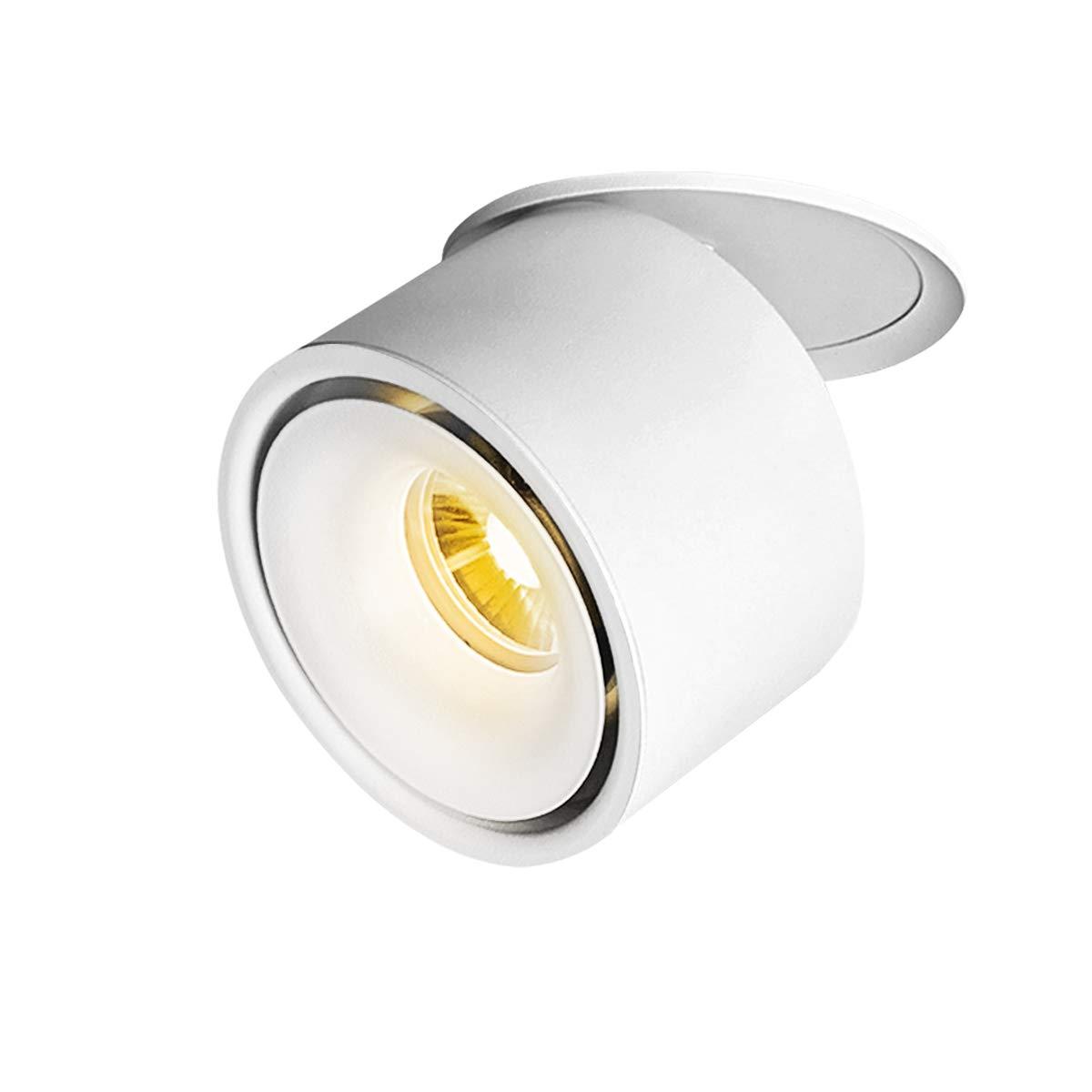 TOPMO Indoor 10W LED Ceiling Fixtures Recessed Ceiling Spotlights/360°Adjustable Ceiling Downlight/10X8CM/Aluminum Spot Light (white3000K)