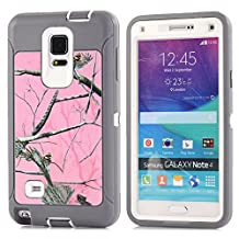 MOONCASE Galaxy Note 4 Case, [Realtree Camo Series] 3 Layers Heavy Duty Defender Hybrid Soft TPU +PC Bumper Triple Shockproof Drop Resistance Protective Case Cover for Samsung Galaxy Note 4 -Pink Tree