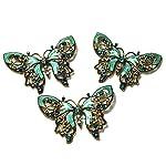 eGlomart Vintage Style Golden Aquamarine Blue Rhinestones Butterfly Brooch Pin #153