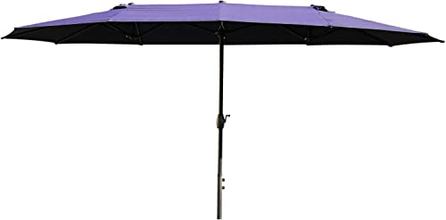 Patio Outdoor 15 Feet Double-Sided Twin Umbrella Irregular Shape Garden High Color Fastness Aluminum Navy Blue