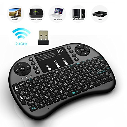 (Updated, Backlit) Rii i8+ 2.4GHz Mini Wireless Keyboard with Touchpad...