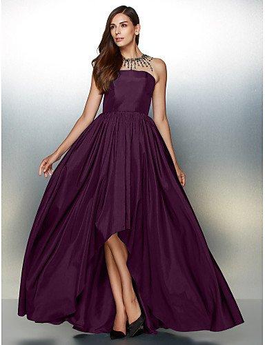 Detallando Asimétrica De Vestido Formal Tafetán De Una Noche Prom Joya Cuello Crystal Grape De amp;OB HY Línea Con YqgXSxa1g