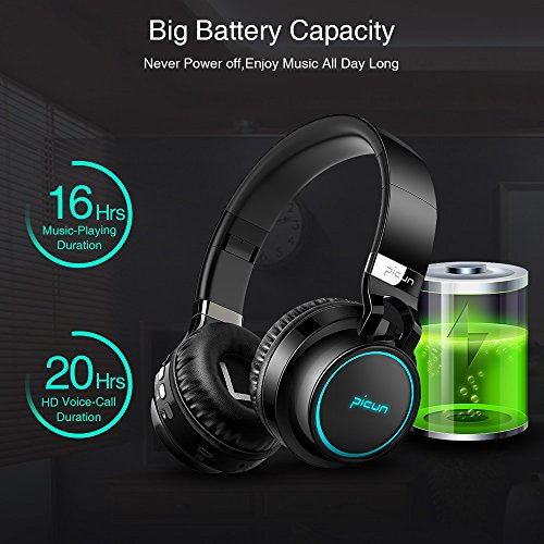 Picun Wireless Bluetooth Headphones LED Foldable Headsets Support 7 Colors Lights 20 Hour Playtime TF Card HiFi Stereo Bluetooth Headsets with Deep Bass Built in Mic for Phone Tablet Laptop TVBlack