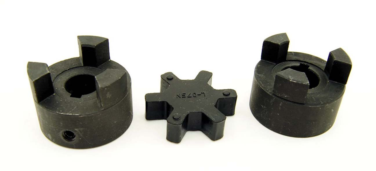 1/2'' to 5/8'' L075 Flexible 3-Piece L-Jaw Coupling Coupler Set & Rubber Spider