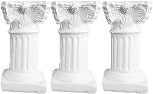 Balacoo 3Pcs Resin Roman Column Aquarium Ornament Fish Tank Landscape Decorative Column Ruins Decoration(White)