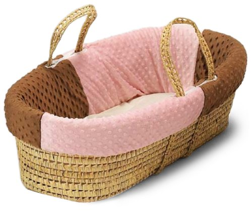 Baby Doll Bedding Minky Dots Moses Basket, Chocolate/Pink by BabyDoll Bedding