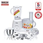 Inalsa Food Processor Fiesta 650-Watt with Break Resistant Processing Bowl, Blender, Dry Grinding Jar, 8 Accessories| 5…