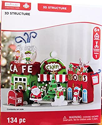 Christmas Town, Cafe, candy and Toy Shops Craft 3D Foam Kit 134 Pieces