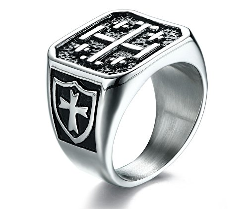 Stainless Steel Vintage Casting Jerusalem Cross Crusaders Cross Ring for Men,size 11
