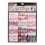 2016 Fake Nails!Elevin(TM)144pcs New Mixed Set False Nail Tips Artificial Fake Nails Art Acrylic Manicure Gel (B)