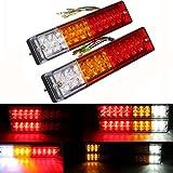 AMBOTHER 2x 20-LED Car Truck LED Trailer Tail Lights Turn Signal Reverse Brake Light, Stop Rear Flash Light Lamp, DC12V 24V Red-Amber-White, Waterproof IP65 (Pack of 2)