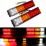 AMBOTHER 2x 20-LED Car Truck LED Trailer Tail Lights Turn Signal Reverse Brake Light, Stop Rear Flash Light Lamp, DC12V Red-Amber-White, Waterproof IP65 (Pack of 2)
