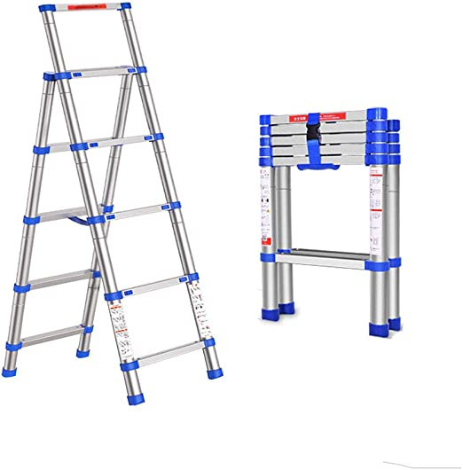 WUDAXIAN-Taburete Escalera telescópica Escalera de Aluminio portátil de 5 Pasos Escalera Tipo A Multiusos: Amazon.es: Hogar