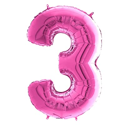 Number 3 Pink Supershape Foil Balloon 23 X 34 Inches: Kitchen & Dining