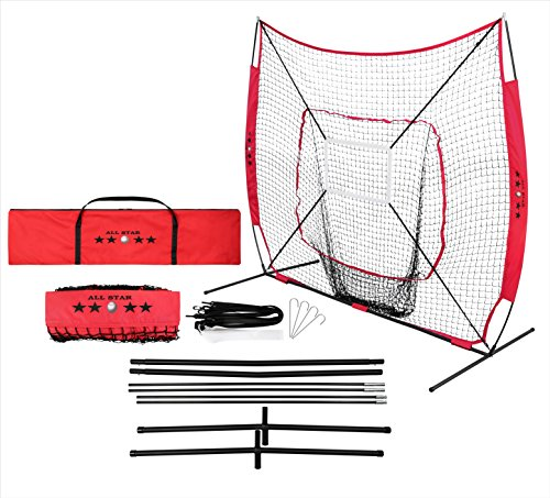 All-Star Professional Baseball and Softball Practice Net 7 x 7 with Strike Zone