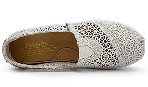GFONE Sneakers Beige Wedge Loafers Hollow On Shoes Lace Floral Fitness Walking Platform Women's Casual Trainers Running Slip YPraIY