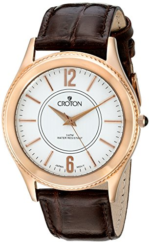 CROTON Men's CN307502BRDW Heritage Analog Display Japanese Quartz Brown - White Mens Croton Dial