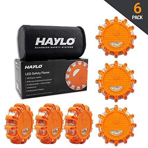 HAYLO LED Safety Flares Road Emergency Lights - Roadside Warning Car Safety Flare Kit for Vehicles & Boats - (Pack of 6)