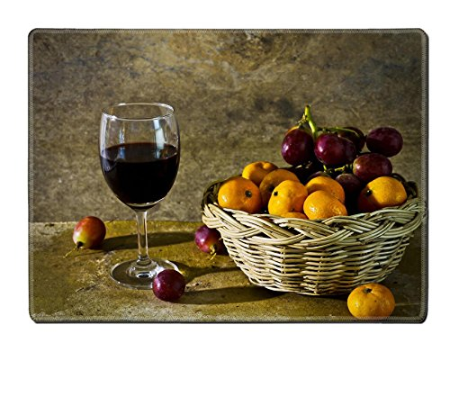Luxlady Natural Rubber Placemat IMAGE ID: 25671764 Still life with fruit and wine