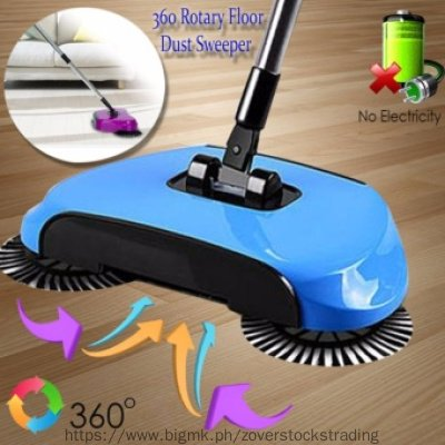 Swabs� Stainless Steel ABS Whirl Wind Auto Spin Hand Push Sweeping Broom for Floor Dust Cleaning