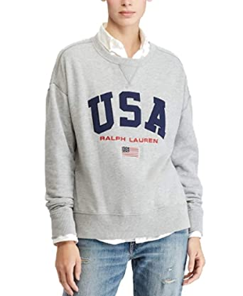 6f657c2ca8ef Polo Ralph Lauren Women s Fleece Sweatshirt (Grey Heather