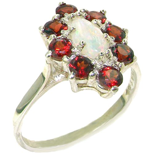 925 Sterling Silver Real Genuine Opal and Garnet Womens Band Ring - Size 7