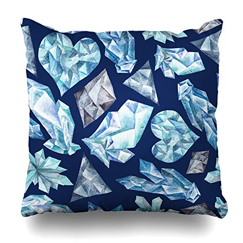 (Ahawoso Throw Pillow Cover Crystal Purple Azure Blue Gems Watercolor Pattern Handpainted Hand Winter Ice Digo Abstract Design Home Decor Pillowcase Square Size 20