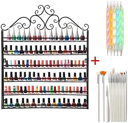 Amazon.com : PM Wall Mounted Nail Polish Display Rack Holder Storage Organizer Metal Shelf Lot 6 Tier : Sports & Outdoors