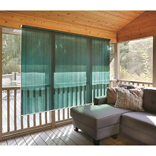 CASTLECREEK Sunscreen Roll-Up Window Shade, Hunter Green, 6X6' (Rollup Shade Outdoor)