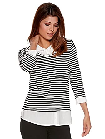 fbda9133a12 M&Co Ladies Three Quarter Length Sleeve Layered Two In One Stripe Jumper  With Mock Insert Shirt Top Black 8