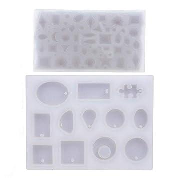 ☆57formas Molde Silicona Resina Joyería Collar Pendiente Fabricación de Colgante Creativo Bricolaje DIY: Amazon.es: Hogar