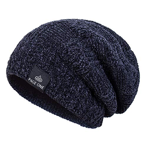 PAGE ONE Men Winter Trendy Warm Hat Oversized Chunky Slouchy Beanie Fleece Outside Men Women(Navy) - Fully Lined Winter Hat