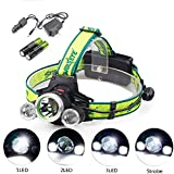 Super Bright T6 LED Headlamp 12000 Lumen Zoomable Adjustable Headlight Flashlight with 18650 Rechargeable Batteries Waterproof Lightweight Camping Outdoor Sports