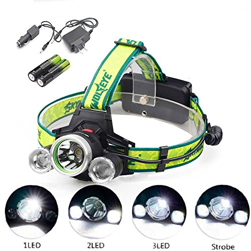 Super Bright T6 LED Headlamp 12000 Lumen Zoomable Adjustable Headlight Flashlight with 18650 Rechargeable Batteries Waterproof Lightweight Camping Outdoor Sports by Skywolfeye