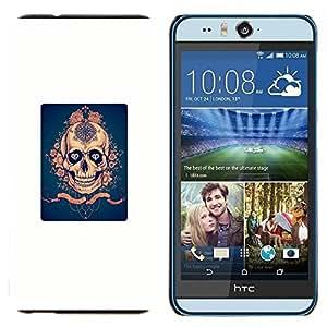TECHCASE---Cubierta de la caja de protección para la piel dura ** HTC Desire Eye ( M910x ) ** --Blanco Azul Rosa de Oro cartel Scary
