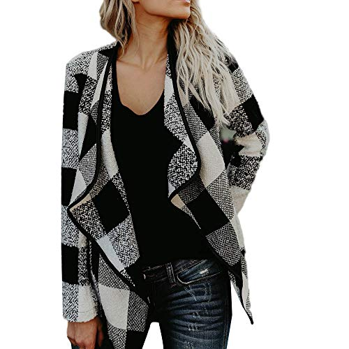 Dressin Women's Turn Down Shawl Collar Check/Grid/Black Asymmetric