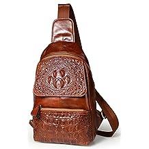 Everdoss Sling Backpack for Men Top Genuine Leather Chest Bag Casual Daypack